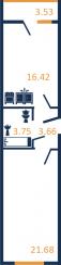 Планировка Однокомнатная квартира площадью 21.68 кв.м в ЖК «Зелёный город»