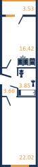Планировка Однокомнатная квартира площадью 47.79 кв.м в ЖК «Зелёный город»